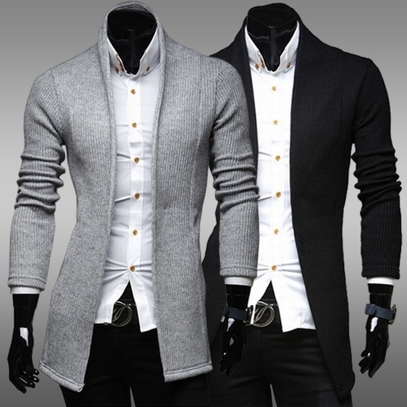ZOGAA Mens Long Cardigan Sweater Spring Autumn Casual Solid Sweater Coat Slim Solid Fashion Sweater Outwear Male Overcoats