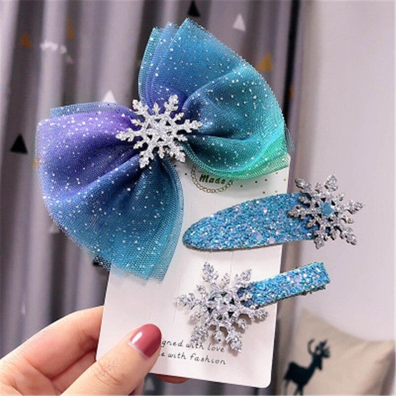 Children Child Girl Kids Hair Bands Clips Hairpin Set Cute Yarn Bow Knot Tassel Snow Flake Princess Head Wear Accessories-AZ-W12
