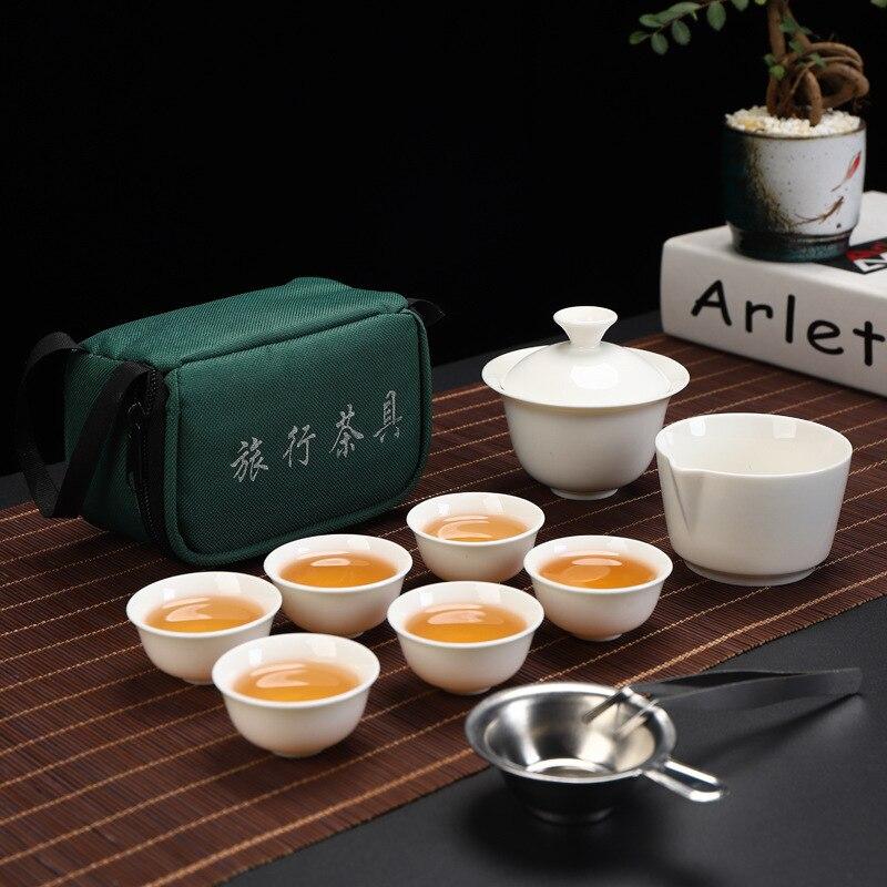 ANCHENG 세트 중국 여행 쿵푸 차 세트 세라믹 휴대용 찻잔 도자기 서비스 가이완 차 컵 찻잔 찻 주전자