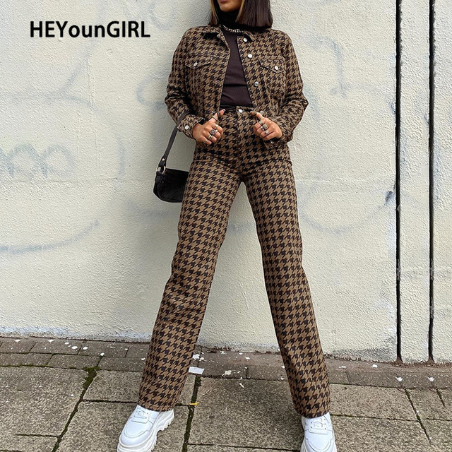 HEYounGIRL Houndstooth Plaid Print Vintage Pants Women Casual High Waisted Long Trousers Fashion Skinny Pants Capris Autumn 2020