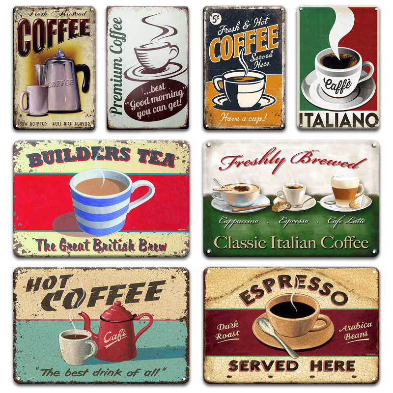 Metal Tin Sign classis italian coffee Bar  Home Vintage Retro Poster Cafe ART
