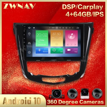 IPS Android 10.0 Car Multimedia player For Nissan X-Trail Qashqai 2013 2014 2015 2016 2017 gps Navigation RADIO Audio head unit image