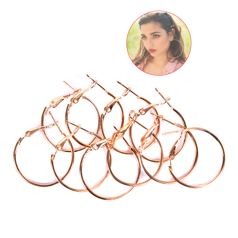 10pcs/lot 20 <font><b>25</b></font> <font><b>30</b></font> mm Silver Color Gold Hoops Earrings Big Circle Ear Wire Hoops Earrings Wires For DIY Jewelry Making Supplies image