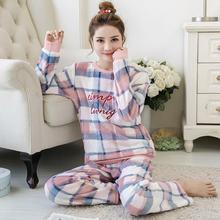 Пижамы для женщин коралловые бархатные пижамы женские зимние