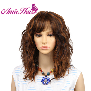 Amir Short Blonde Wigs for White Women Curly Wavy Synthetic Female Hair Wig black Full Wigs cosplay middle party wig(China)
