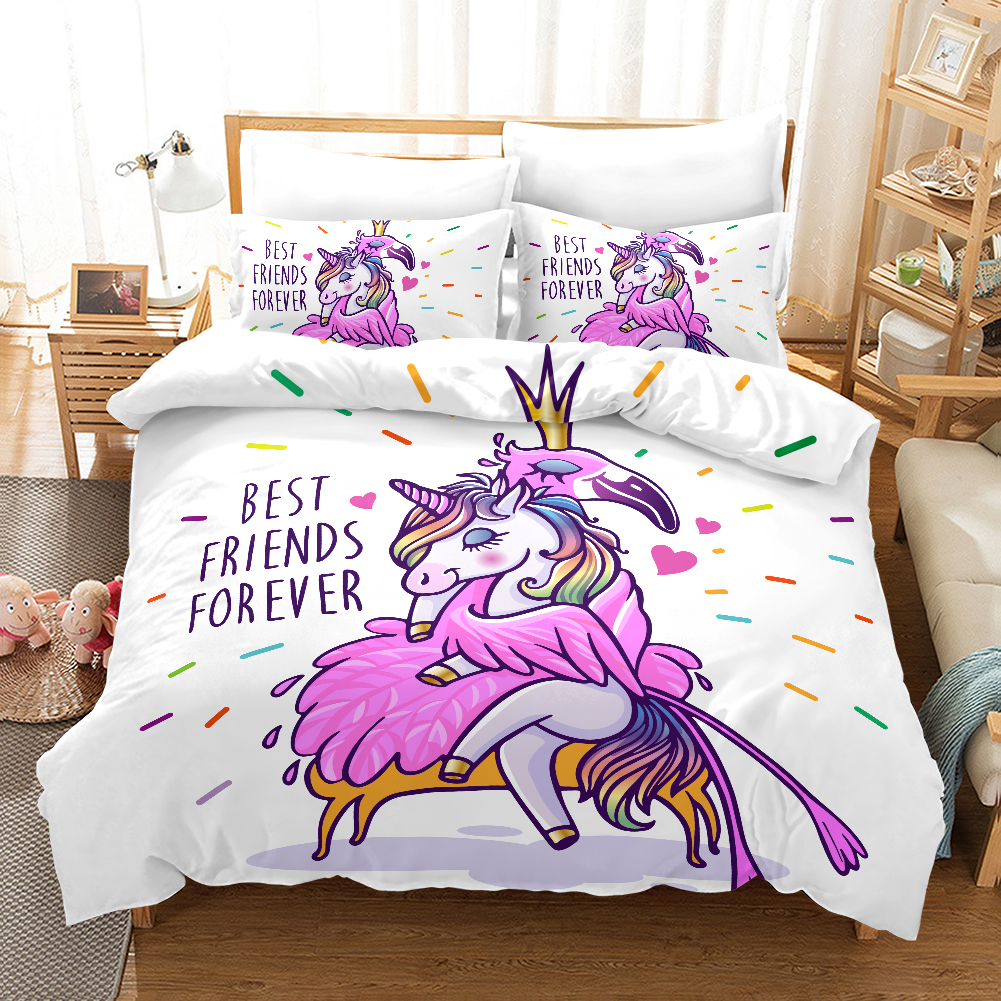 Lanke Cute Unicorn Bedding Set Duvet cover Pillowcases Twin Full Queen King Size Kids Bed Cover in Bedding Sets from Home Garden