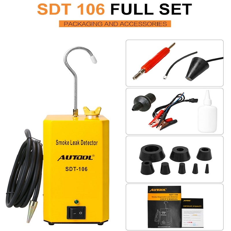 AUTOOL SDT106 Car Smoke Analyzer Machine Leak Detector Automotive EVAP Gas Leakage Locator Oil Pipe Generator Diagnostic Tool