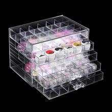 5 capas cajón de acrílico transparente caja de almacenamiento para esmalte de uñas organizador de maquillaje arte de uñas diamantes de imitación herramientas de manicura caja de almacenamiento