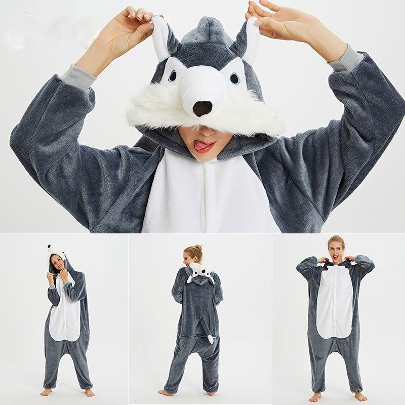 Kigurumi Pajama Adult Animal Unicorn Wolf Onesie Women Men Couple 2019 Winter Pajamas Suit Kegurumi Sleepwear Flannel Pijamas