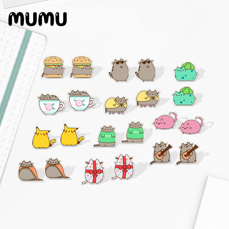 2020 New Cute Grey Cat Earring Funny Cats Acrylic Earring Silver Plated Stud Earrings Epoxy Jewelry Gifts Girl