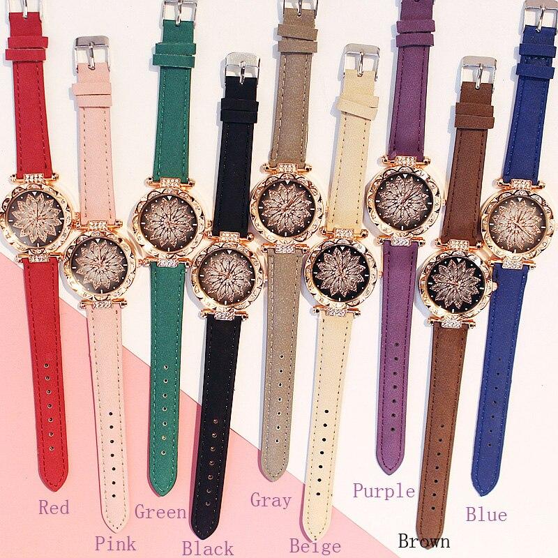 2019 kobiet zegarki zestaw bransoletek Starry Sky bransoletka damska zegarek Casual skórzany zegarek kwarcowy zegar Relogio Feminino 6