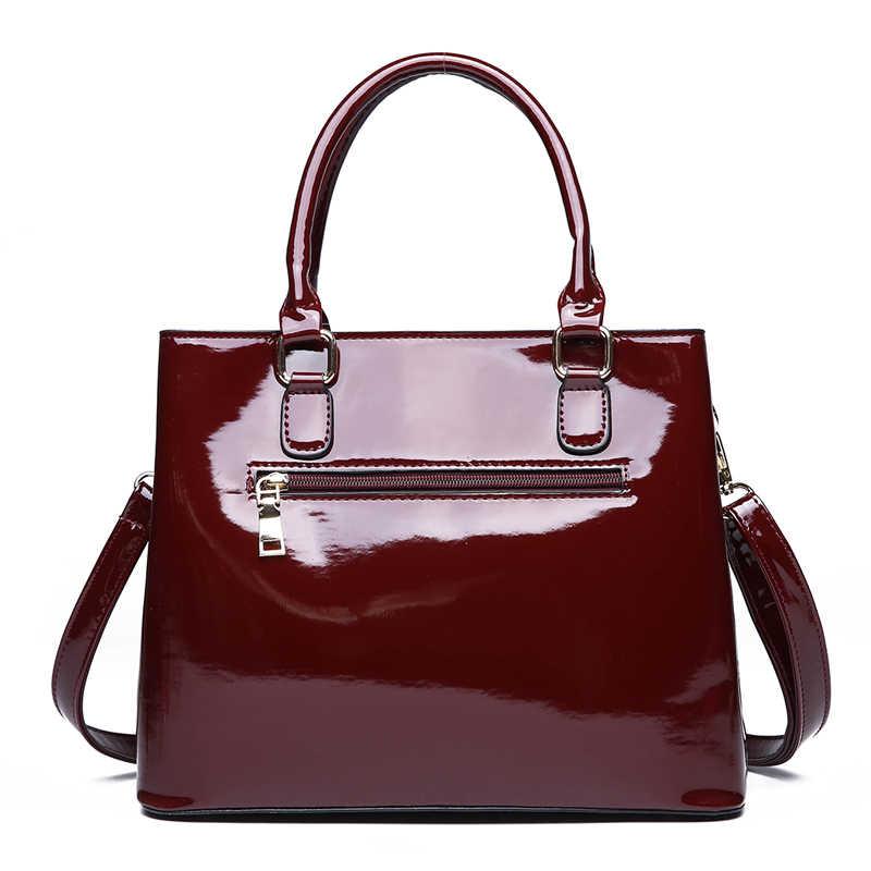Merah Hitam Patent Kulit Tas Tangan Mewah Buaya Tote Tas Tas Bahu Tas Tangan Wanita Merek Terkenal Desainer Kantung Utama Femme