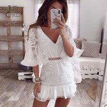 Justchicc Elegant Mini Lace summer Dress Women Party Hollow out Clubwear White Dresses Floral Vintage Sexy Dress Elegant Vestido