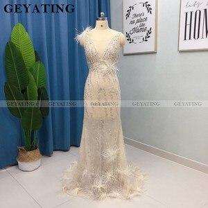 Image 5 - Luxe Kralen Mermaid Veren Prom Dresses 2020 Sexy V hals Backless Afrikaanse Avond Formele Jurk Lange Graduation Gowns