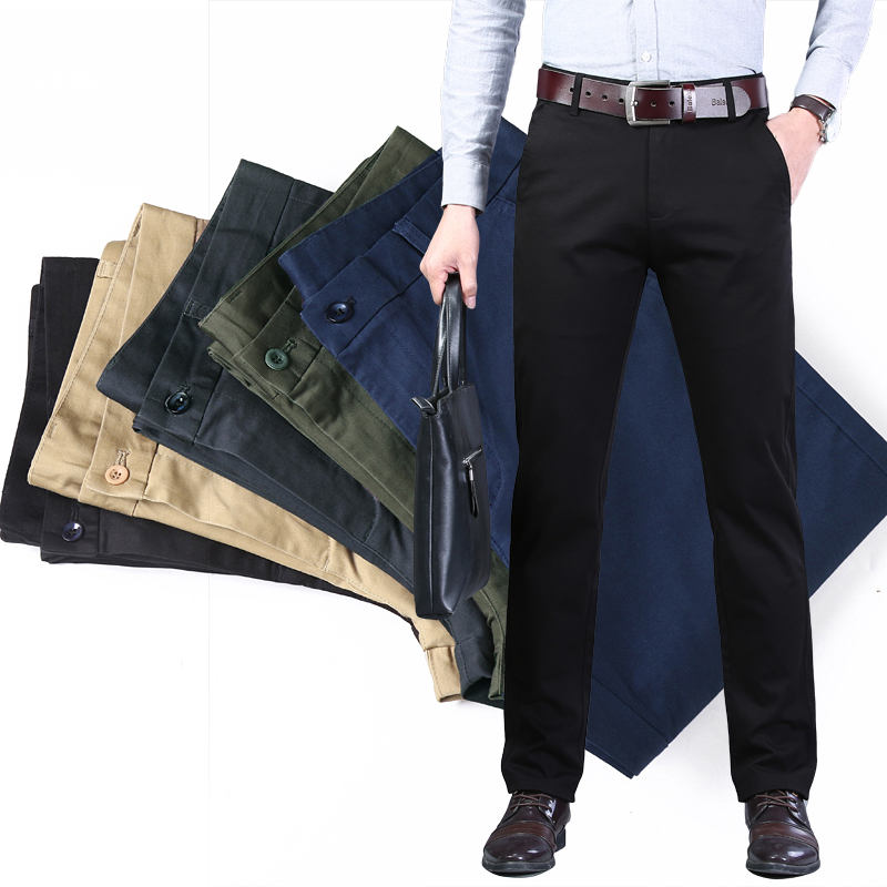 Classic Style Men's Stretch Khaki Casual Pants Business Fashion Solid Color 96% Cotton Regular Fit Brand Trousers Male