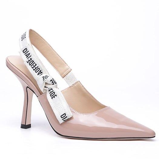 9.5CM POMPES Élégant Arc Noeuds Dames Pompes & Sandales Pointu Lettres Mode Chats Talons dos vide femmes Slingback Pompes Chaussures