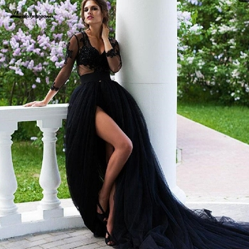 Lakshmigown Gothic Black Wedding Dress with Sleeves 2020 Sexy Bridal Side Split Country Gowns Tulle Robe Mariage - discount item  35% OFF Wedding Dresses