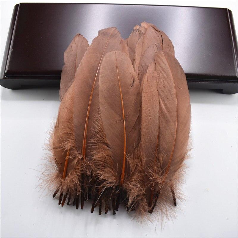 Жесткий полюс, натуральные гусиные перья для рукоделия, 5-7 дюймов/13-18 см, самодельные ювелирные изделия, перо, свадебное украшение для дома - Цвет: Dark coffee