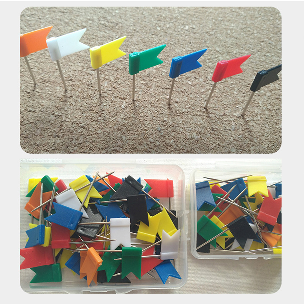 100 Pcs Notice Cork Board Map Plastic Pin Flag Push Pins Marker Marking Thumbtack For Office School Supplies Wall Nails Photo