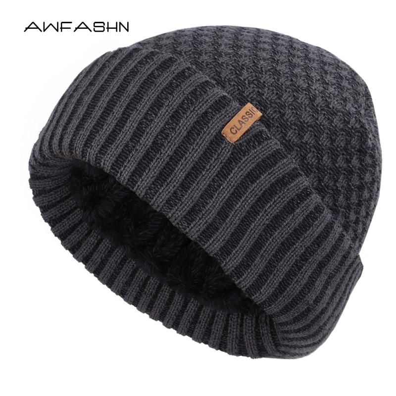 New Fashion Classic Men's Winter Warm Knit Beanie Thick Lining Plus Velvet Casual Hat Dad Hat Fleece Soft Cap Bonnet Male Bone