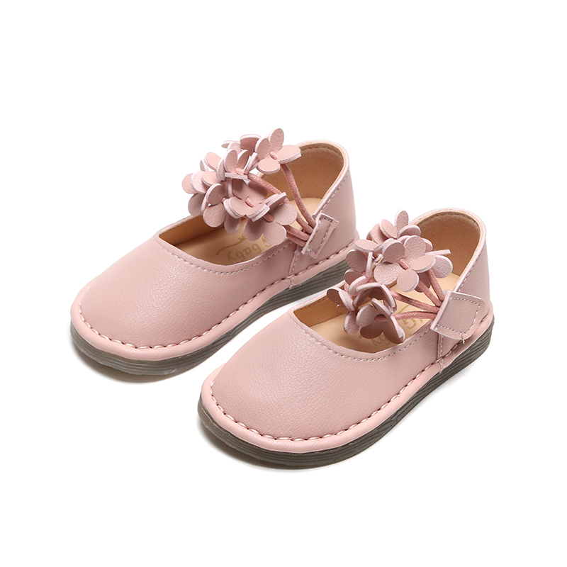 Kids Leather Shoes Spring New Solid Color Floral Flat Girls Sneakers Cute Dot Bow Children Girls Princess Single Shoes SMG073
