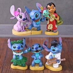 Cartoon Movie Stitch Lilo Angel Mini Cute Figures Dolls Kids Toys Birthday Gift 6pcs/set