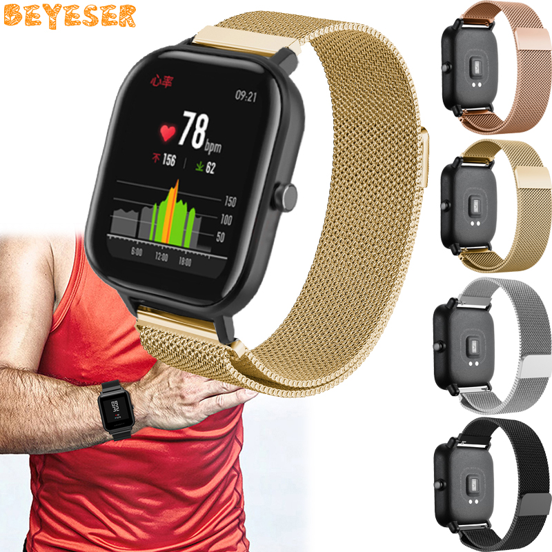 For Samsung Galaxy watch active Milanese Magnetic buckle strap replacement for Xiaomi Huami Amazfit GTS Bip BIT PACE wrist band