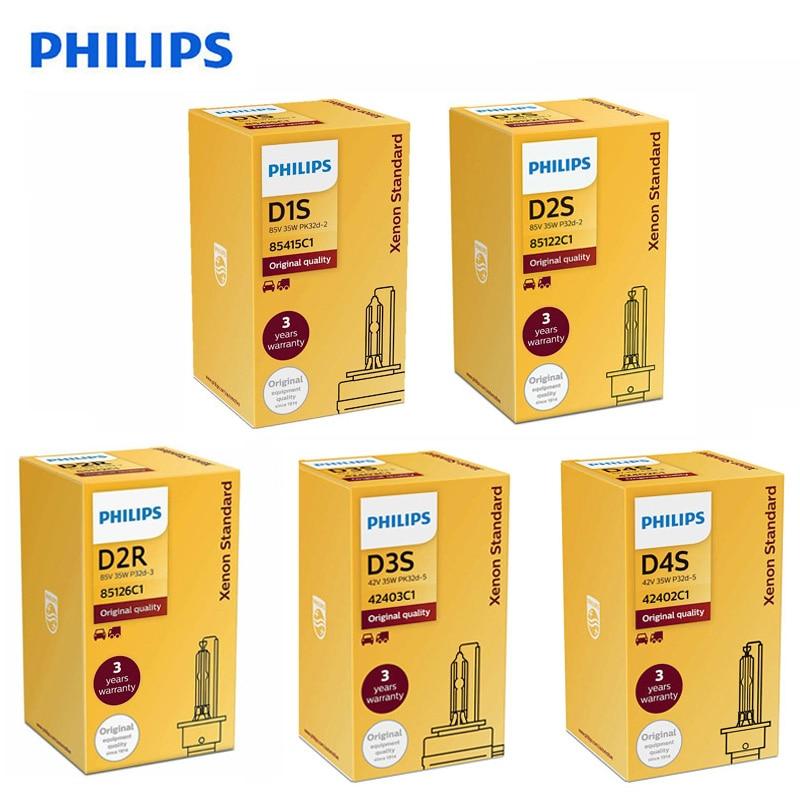 Philips HID D1S D2S D2R D3S D4S D5S 35W Xenon Standard 4200K Auto Original Headlight Car Genuine Bulb OEM Replacement Upgrade,1X