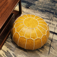 Unstuffed-Cushion Footstool Ottoman Pouf Round Moroccan Large Hassock No Craft Embroider