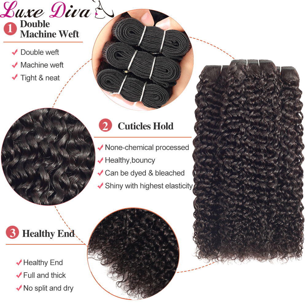 Curly Human Hair Brazilian Weave Bundles With Lace Closure Remy Afro Kinky Hair Bundles With Closure Luxediva Natural Closer