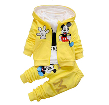 2017 New Chidren Kids Boys Clothing Set Autumn Winter 3 Piece Sets Hooded Coat Suits Fall Cotton Baby Boys Clothes Mickey цена 2017
