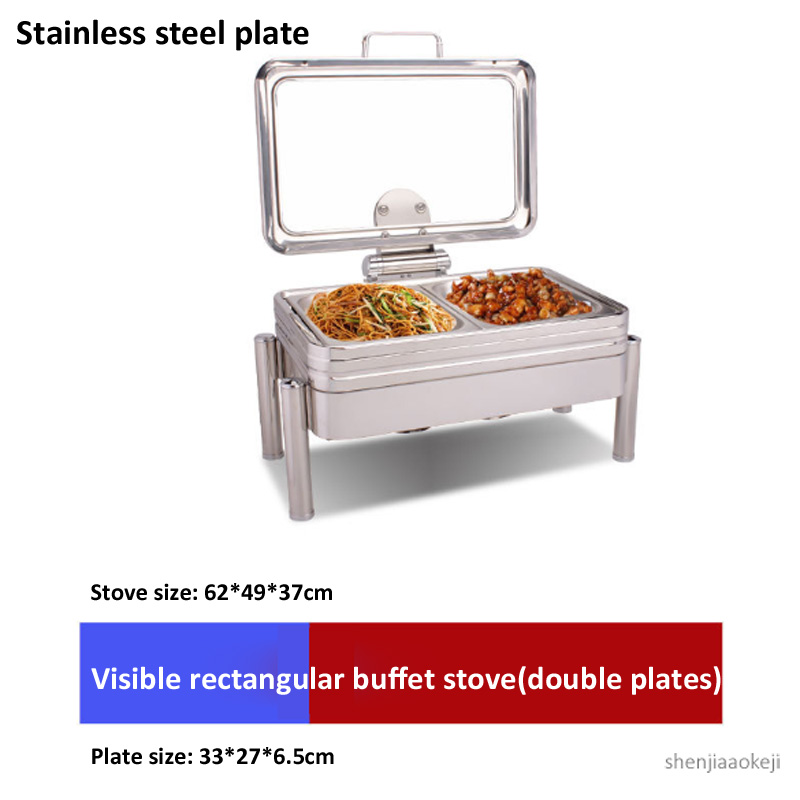 Commercial Buffet Stove Square-shape Dining Furnace Ceramic/stainless Steel Plate Food Heating Pot For Hotel/restaurant Ect. 1pc