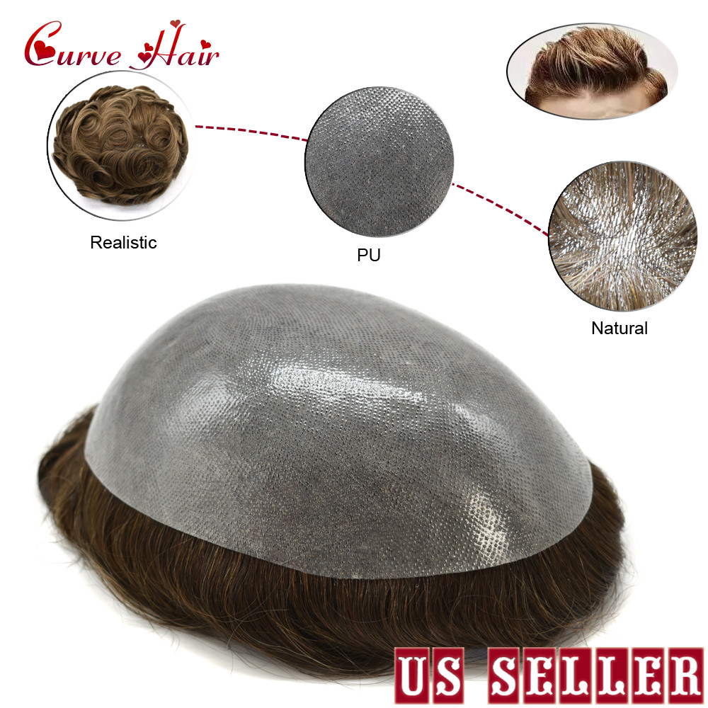 Invisible Full Poly Mens Toupee Thin Skin Hairpiece Easy To Wear 100% Human Hair Replacement All Clear PU Mens Wig