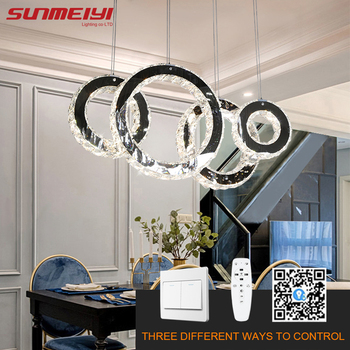 Nordic LED Chandeliers Rings For Living room Dimmable Crystal Chandelier Kitchen Loft Dining Lamp Remote Control  люстра