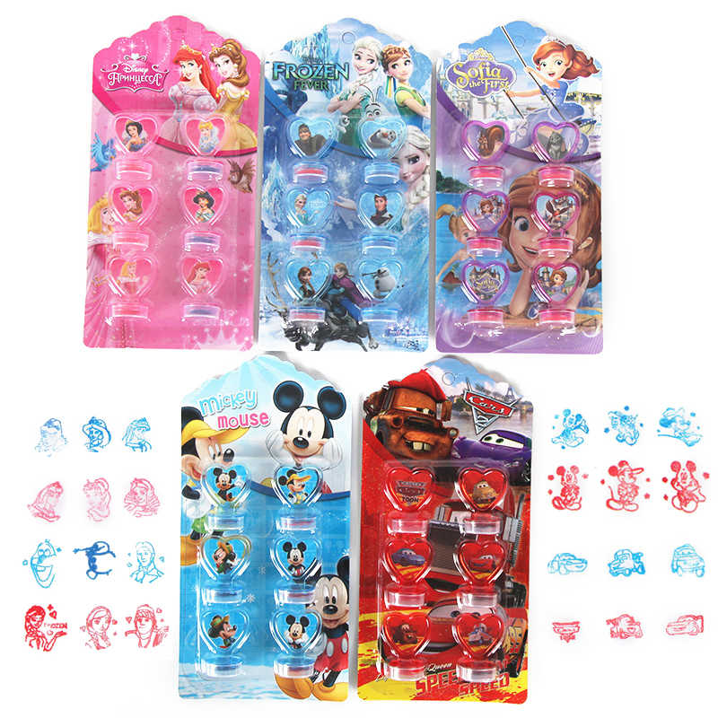 6 יח'\סט קפוא מכוניות נסיכי סופיה מיקי עכבר חותם סטמפר ילדים DIY יומן ציור רעיונות קישוט מסיבת מתנה