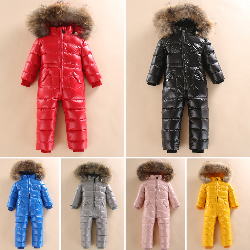 2019 Russian Winter Baby Big Real Fur Collar White Duck Down Rompers Baby Hooded Warm Windproof Jacket Kids Snow Ski Suit