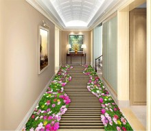 Garden boardwalk beautiful 3D floor Waterproof Self-adhesive Floor Decor Mural PVC Wallpaper