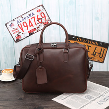 briefcase Crazy horse leather handbags  mens retro shoulder slung computer business