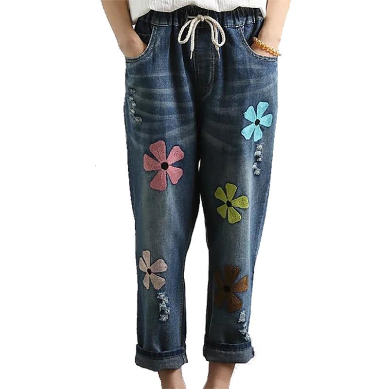 Новые женские летние туфли на Размеры свободные женские шаровары джинсовые брюки женские Повседневное Мягкий хлопок цветочной вышивкой Высокая талия джинсы для женщин - Цвет: dark