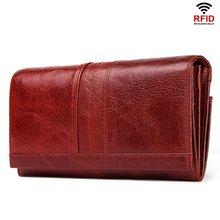 Длинный кошелек с Rfid-защитой для женщин, двойного сложения, клатч из натуральной кожи, бумажники для мелочи, портмоне для удостоверения личн...