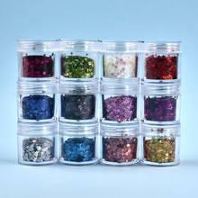 Une boîte 12 couleurs résine remplisseurs étoile Flash paillettes brillant remplissages pour résine époxy moule cristal bijoux faisant la décoration