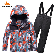 2019 Kids Ski Suit Jacket + Strap Pants Winter Children Boys Snowsuit Sets Outdoor Warm Waterproof Windproof Snowboard