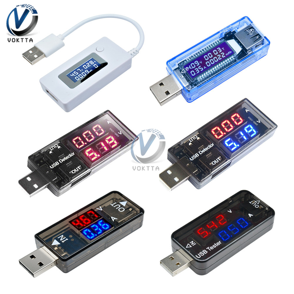 USB Voltmeter Ammeter Current Voltage Tester LCD Digital Display Power Battery Capacity Tester Measurement USB Charge Indicator
