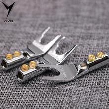 4pcs/8pcs XSSH copper plating rhodium welding U Y Spade banana Plug Male Audio Plug Speaker power amplifier connector