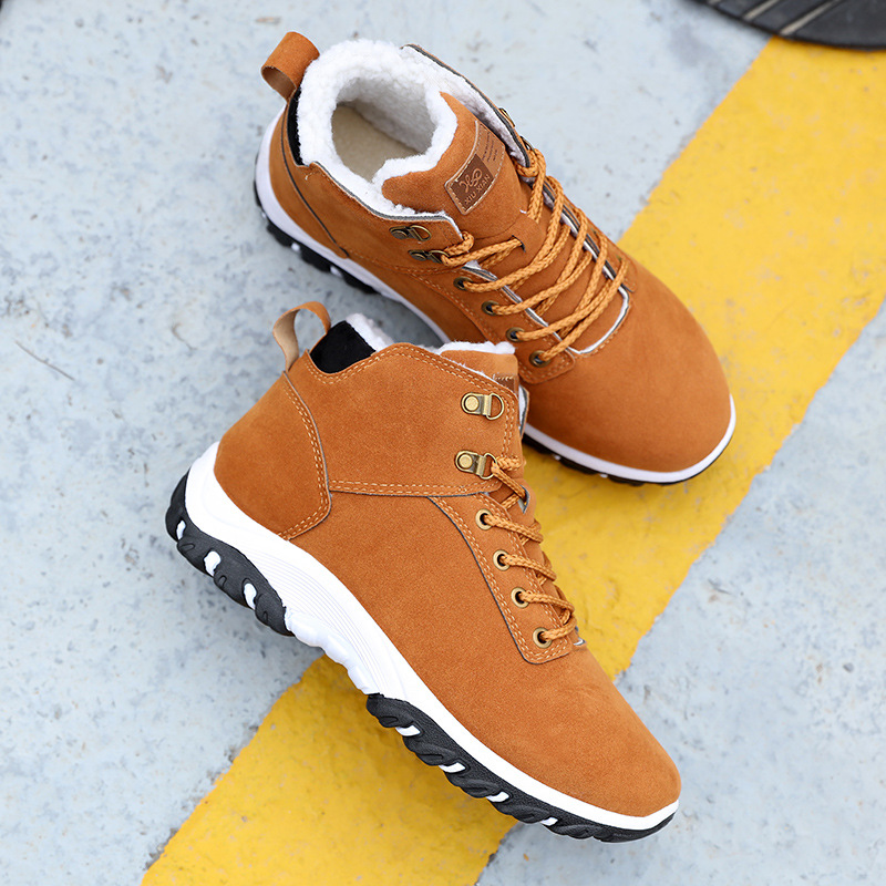 Men Snow Boots Winter Cotton Shoes with fur Lace-up Sneakers Warm Fleeces Ankle Boots High Flat Casual Shoes Solid Anti-skid 4