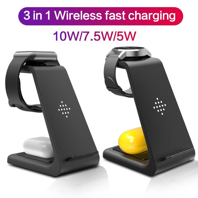 3 в 1 Qi 10 Вт Быстрое беспроводное зарядное устройство для iphone Samsung держатель для телефона iWatch 5 для Airpods Galaxy Buds Gear S4 S3 док-станция зарядное устро...