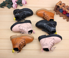 2019 New Autumn Baby Martin Boots Male Girl British Style Catamite 1-2-3 Year Short Children Learn To Walk Leather Shoes(China)