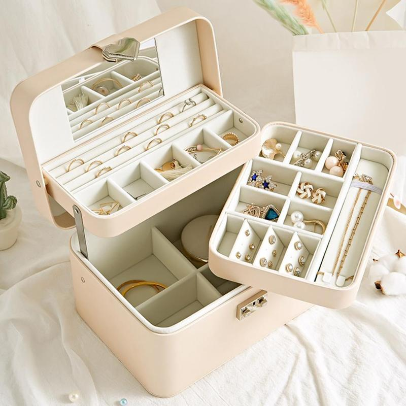 High Quality Jewelry Box Organizer Storage Leather Holder Earrings Ring Necklace Case Protable Jewel Packaging Display Organizer