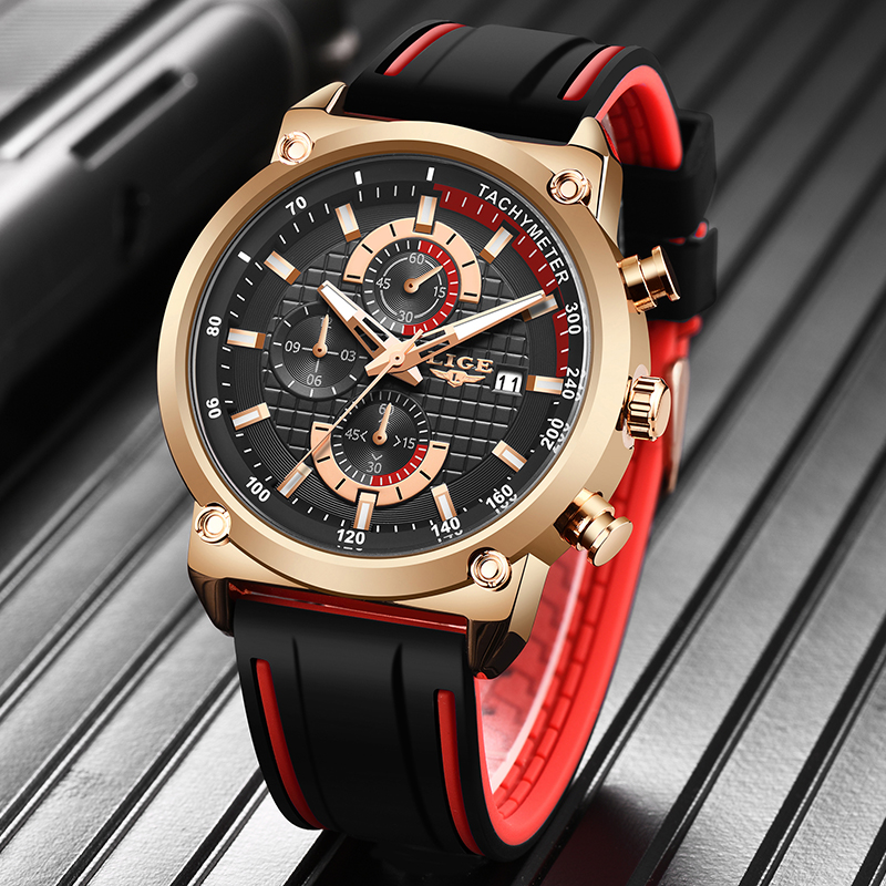 LIGE Watch Top Brand Mens Watches With Chronograph Sports Waterproof Clock Man Watches Military Luxury Watch Men Analog Quartz