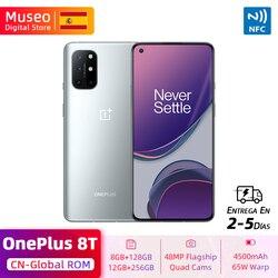 Глобальная ROM OnePlus 8 T 8 T Смартфон Snapdragon 865 8 Гб 128 ГБ 6,55 ''120 Гц жидкокристаллический дисплей 48MP Quad Cams 65W зарядка NFC